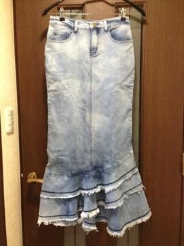 新品L★マーメイドスカート★デニムロングスカート/マキシ丈