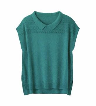 レトロ襟付き透かし編みサマーニット(M)グリーン新品