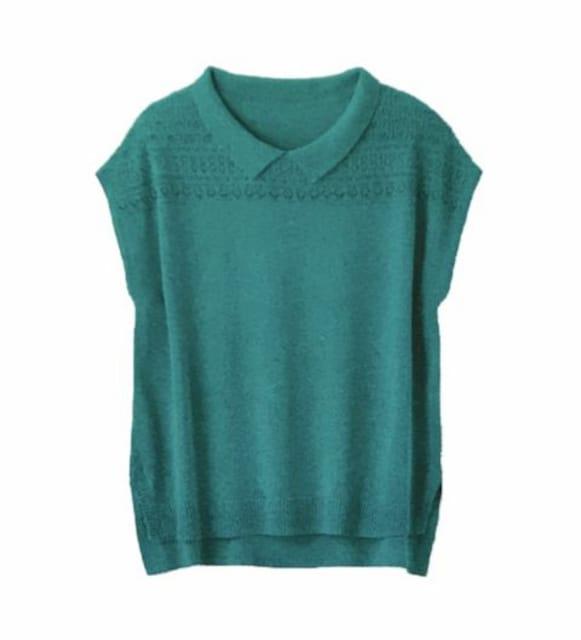 レトロ襟付き透かし編みサマーニット(M)グリーン新品  < 女性ファッションの