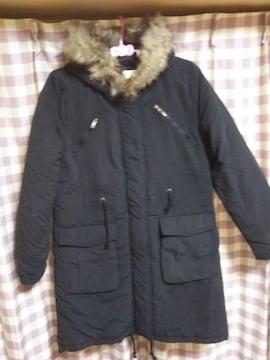 ★未使用 タグ付 Rude Grret オシャレデザイン ダウンタイプ ロングコート 黒★
