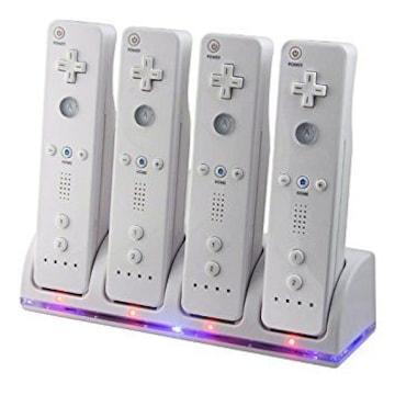 Wii / Wii U リモコンバッテリー 充電器 2800mAh×4 ホワイトb