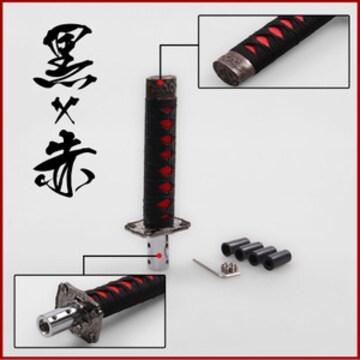 ♪M インパクト抜群 日本刀柄型 シフトノブ ショートタイプ/黒×赤