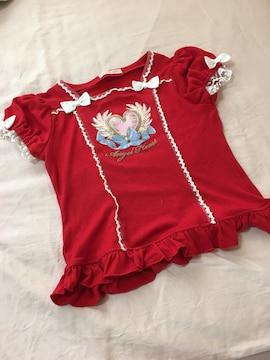 Tシャツ赤/Mサイズ/フリフリな感じのトップス