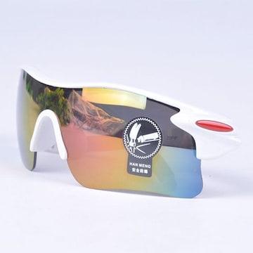 スポーツサングラス サングラス UV400 紫外線カット ホワイト