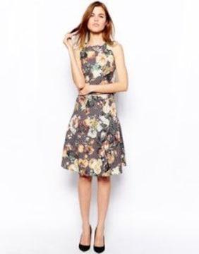 ブラウン系パープルグレー花凹凸素材スカート2ピーススーツS