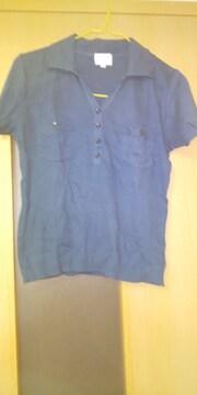 紺系の半袖シャツ  古着