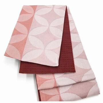 美品 長尺 七宝模様 化繊 ピンク 両面違い 長さ390