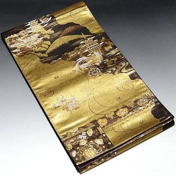 【袋帯】正絹 ゴールド地 鴛鴦・華丸 吉祥文様