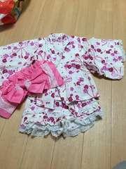 花柄ヒラヒラ浴衣♪姫系☆チビギャル90 帯付