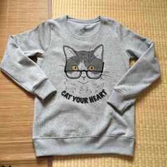 定形外込。nekotsubo・メガネ猫キャラクター裏起毛トレーナー灰