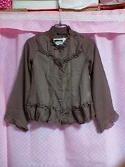 新品:サイズL:白×黒水玉柄タンクトップ&ショコラ色シースルー長袖ブラウスのセット