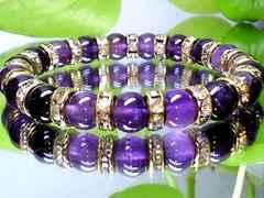 天然アメジスト紫水晶8ミリ金ロンデル数珠