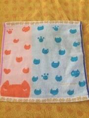 ツモリチサトハンドタオル猫ドット猫キャラクター刺繍