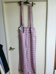 新品 サロペット チェック柄 パンツ ピンク ズボン