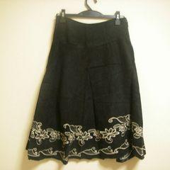 シンプル 上品 刺繍入り BK ロング スカート W64