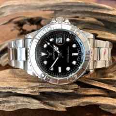 最安値!ロレックス★ヨットマスタータイプ◇クォーツ メタル腕時計・ブラック×シルバー