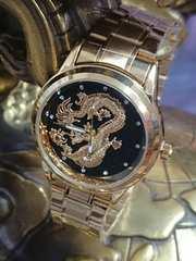 ブラックゴールド 腕時計 竜 レターパック