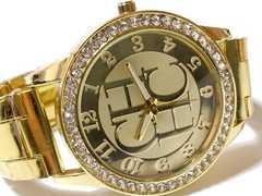 【新品・未使用】RELOGIO 超派手!ジルコニア デカ腕時計 GOLD