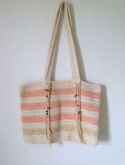 ピンクホワイトボーダー かぎ編み 大きめ ショルダーバッグ