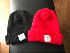サマーニット帽 ニット帽 帽子 ビーニー 赤黒 メンズ レディース