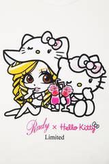 Rady☆ぴずちゃん×キティちゃん☆コラボTシャツ☆ホワイト☆新品タグ付