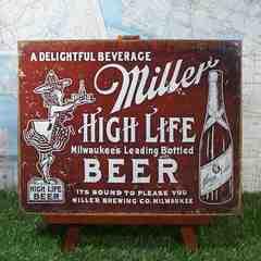 新品【ブリキ看板】Miller/ミラー High Life Beer