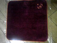 星座刺繍の高級タオルハンカチ/蟹座/ボルドー地にオレンジ刺繍