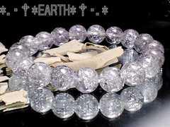 天然石★10ミリ銀色爆裂水晶AAAシルバーフラッシュクラック水晶数珠