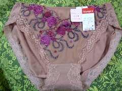 トリンプLサイズショーツ薔薇刺繍レースココア色