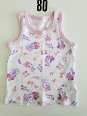 白にミニーハート花模様ふちピンク袖無しシャツ