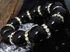 天然オニキス20ミリ金ロンデル黒瑪瑙数珠