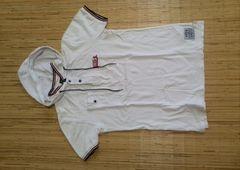 半袖ポロシャツ L サイズ 白 フード付き