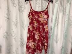 美品赤色レッド花柄和柄キャミワンピース