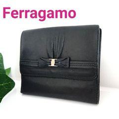 フェラガモ ヴァラ リボン レザー 財布 ブラック 黒 イタリア製