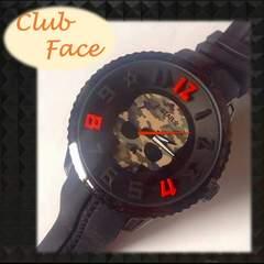 """人気の緑カモフラ★ビッグスカル""""clubface""""メンズ腕時計"""