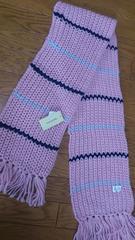 新品タグ付き!手編み風!淡いピンク色の長めマフラー