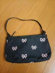 ☆新品同様☆レスポートサック☆ピンクリボン刺繍 手提げバッグ
