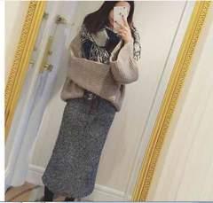 「新品」ニットスカート グレー フリーサイズ