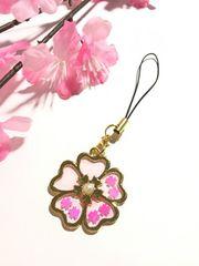 ★お花の中の桜 レジンストラップ さくら サクラ