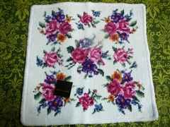 シェニール織りタオルハンカチ薔薇白地