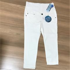 新品タグ付きマタニティLストレッチ白ズボン涼やかスキニー�C