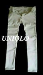 【UNIQLO】ユニクロ 厚手 ヒートテックスリムフィットジーンズ W33(84〜86�p)/White