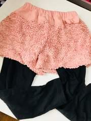 女の子、ピンク、リボン、重ね着風パンツ、130