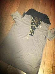 新品 ダイア系 背中レース Tシャツ