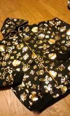 TUKHAN 黒ブラック総柄フルジップパーカーゴールドプリント2XLXXL  ラスト