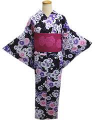 浴衣&半巾帯(半幅帯)2点セット黒色地ラメ淡紫八重桜菊蝶フリー女性用