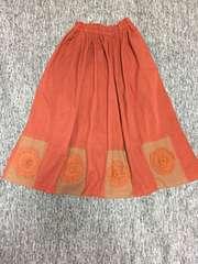厚手コットン100% オレンジキャメル カントリー調ロングスカート