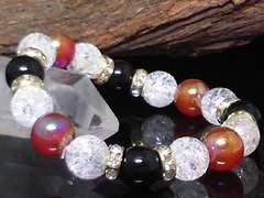 10ミリ§オニキス・クラック水晶・フラッシュカーネリアン数珠