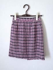 ジャイロ■ピンクブラック 千鳥格子 ツイード 台形 スカート M