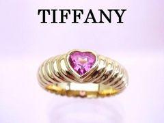 送無 Tiffany ティファニー K18YG ピンクサファイヤ フレンドシップ リング 9号★dot
